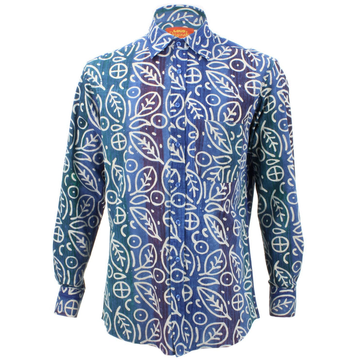 Regular Fit Long Sleeve Shirt - Blue Rainbow Wash with White Abstract Leaves