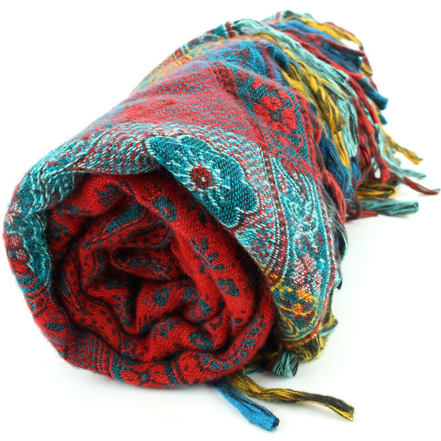 Vegan Wool Shawl Blanket - Paisley Stripe - Orange & Green