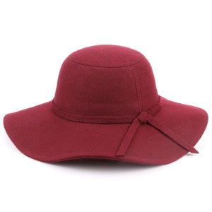 Wool felt wide brim floppy hat - Wine (One Size)