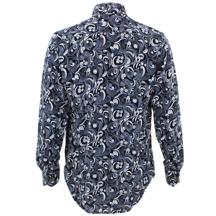 Tailored Fit Long Sleeve Shirt - Black & White Abstract Swirl
