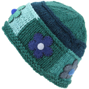 Ladies Wool Knit Beanie Hat with Flower Patch Design - Green