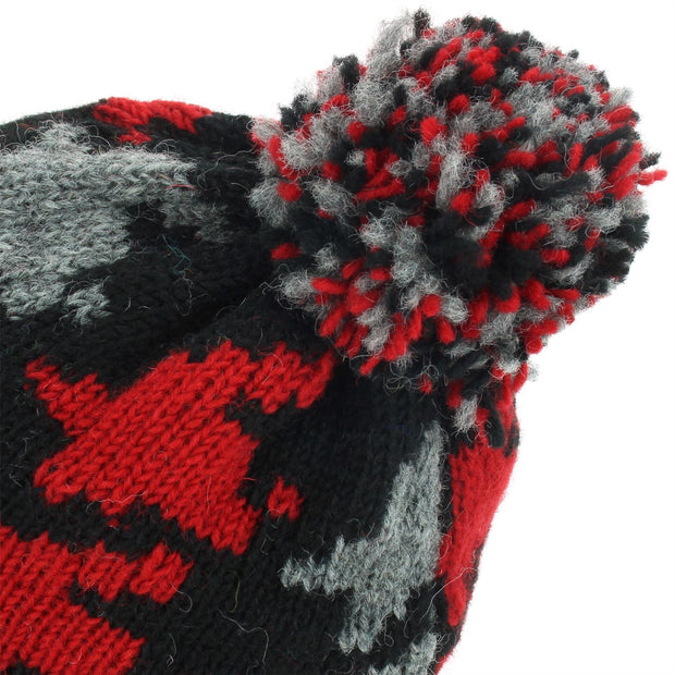 Wool Knit Bobble Beanie Hat - Red Houndstooth