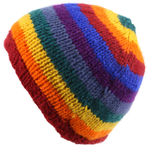 Wool knit beanie hat with fleece lining - Rainbow