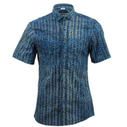Slim Fit Short Sleeve Shirt - Blue Abstract Arrows