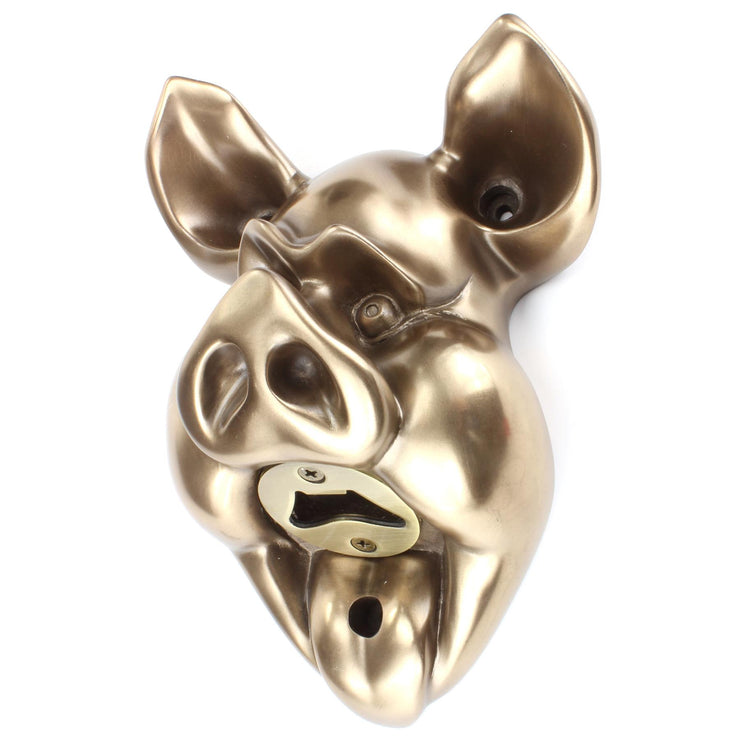 Wall Mounted Character Bottle Opener - Pig (Bronze)