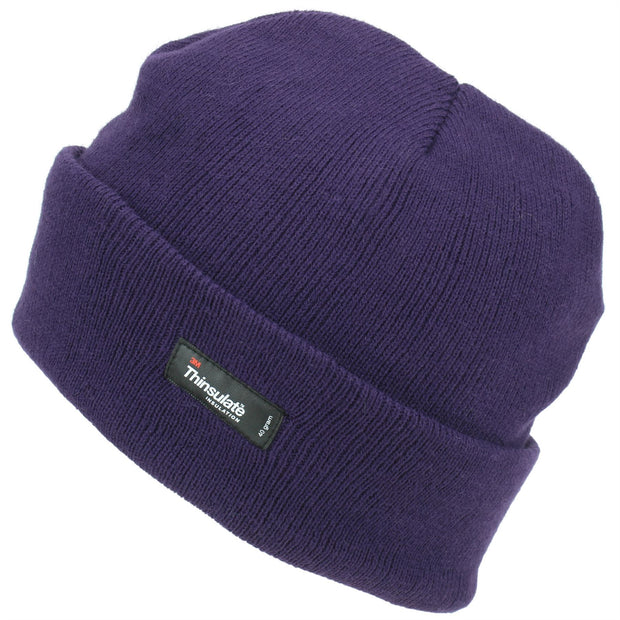 Fine Knit Beanie Hat - Purple