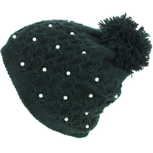 Pearl Lattice Bobble Beanie Hat - Black