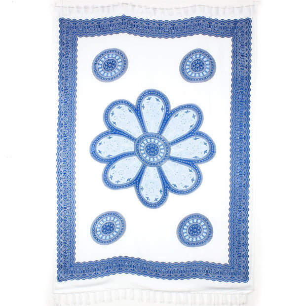 Viscose Rayon Sarong - Flower Mandala - White & Blue