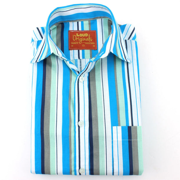 Slim Fit Short Sleeve Shirt - Bayadere Stripes