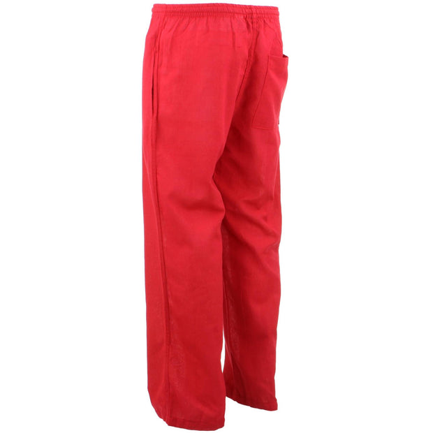 Classic Nepalese Lightweight Cotton Plain Trousers Pants - Red