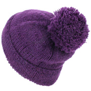 Chunky Wool Knit Baggy Slouch Beanie Bobble Hat - Purple