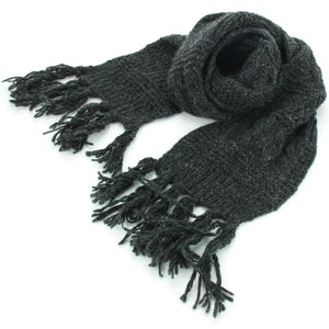 Chunky Wool Knit Scarf - Charcoal Grey