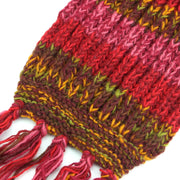 Long Chunky Knit Wool Multi Mix Scarf - Red Mix