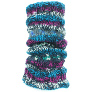 Chunky Wool Knit Abstract Pattern Leg Warmers - Blue