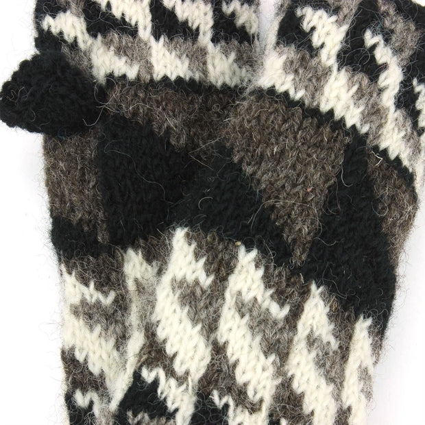 Wool Knit Arm Warmer - Triangles - Black