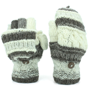 Chunky Wool Fingerless Shooter Gloves - Striped Mixed Knits - Grey Cream