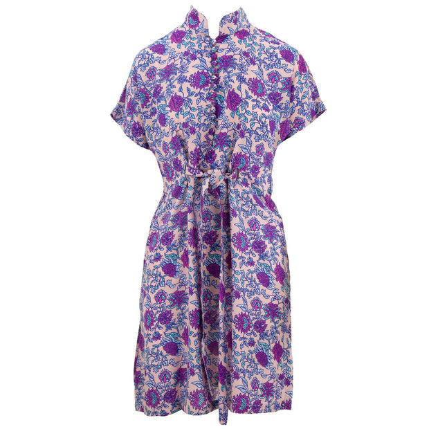 Mandarin Mini Dress - Purple Scabiosa