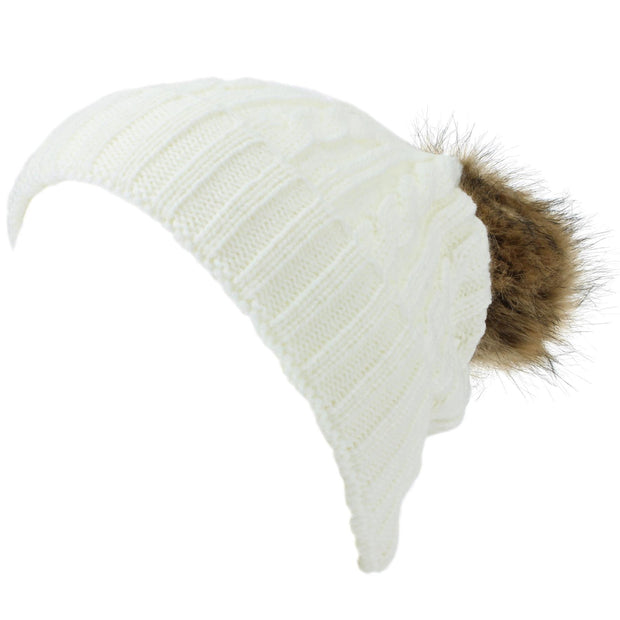 Childrens Cable Knit Beanie Hat with Faux Fur Bobble and Turn-up - White