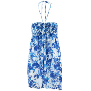 Halterneck Wrinkle Dress - Blue Blossom