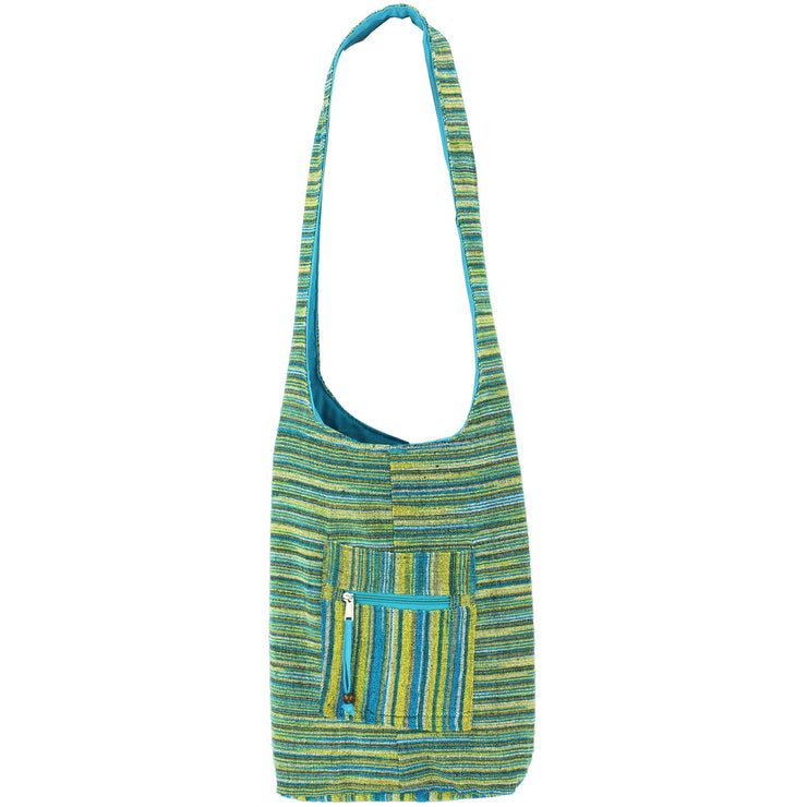 Striped Chenille Sling Shoulder Bag - Turq Yellow