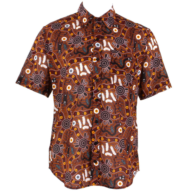Regular Fit Short Sleeve Shirt - Red & Brown Abstract Australian