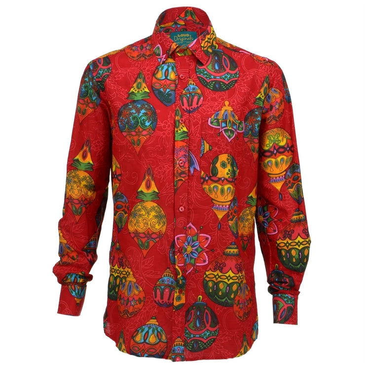 Regular Fit Long Sleeve Shirt - Red with Colourful Baubles