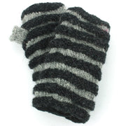 Wool Knit Arm Warmer - Ruched - Black Grey