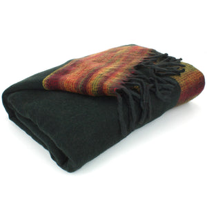 Tibetan Wool Blend Shawl Blanket - Black with Sunset Reverse