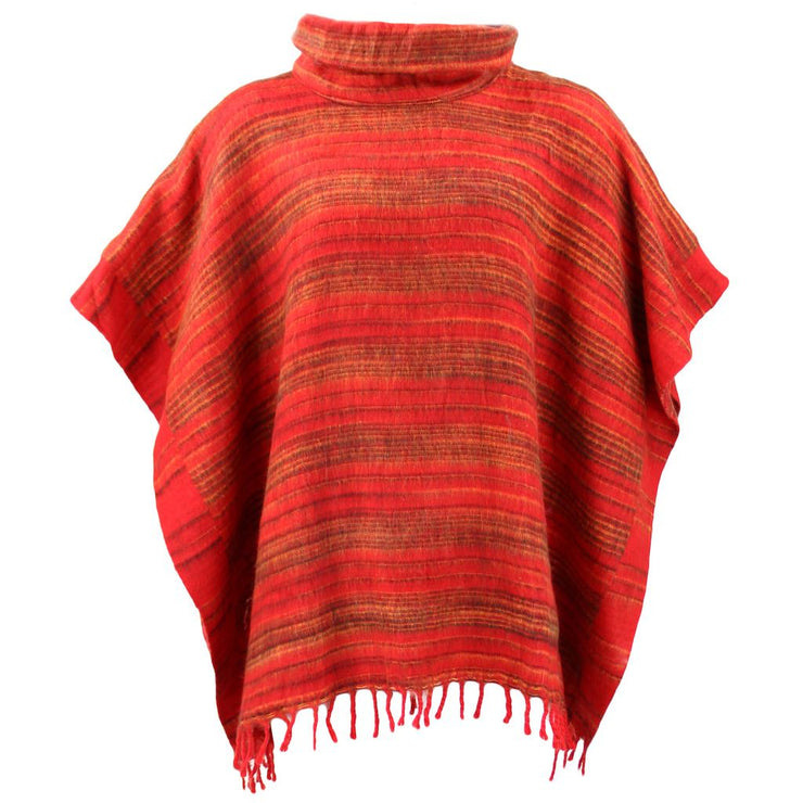 Hooded Square Poncho - Red & Gold