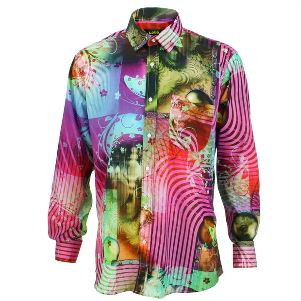 Regular Fit Long Sleeve Shirt - Purple & Red Abstract