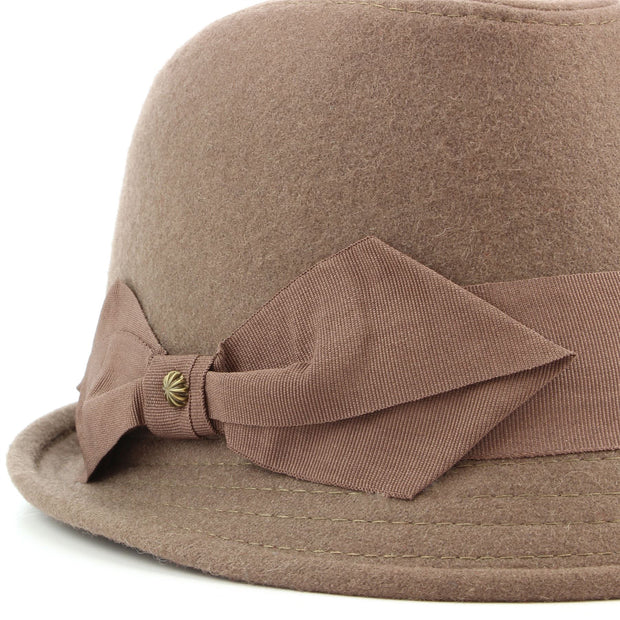 Wool trilby hat with short brim and large side bow - Brown (57cm)