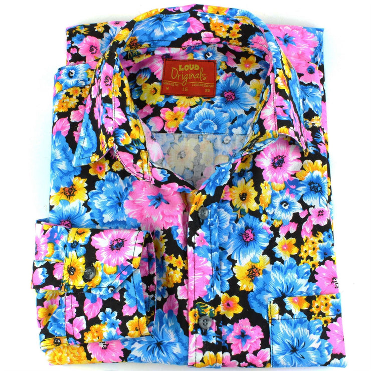 Tailored Fit Long Sleeve Shirt - Multi-coloured Floral on Black