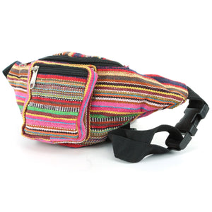 Canvas Bum Bag Money Belt Fanny Pack Pink & Multi Mix