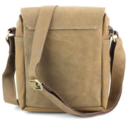 Real Leather Shoulder Bag with Front Zip - Brown