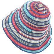 Ladies Multi Stripe Sun Hat - Blue