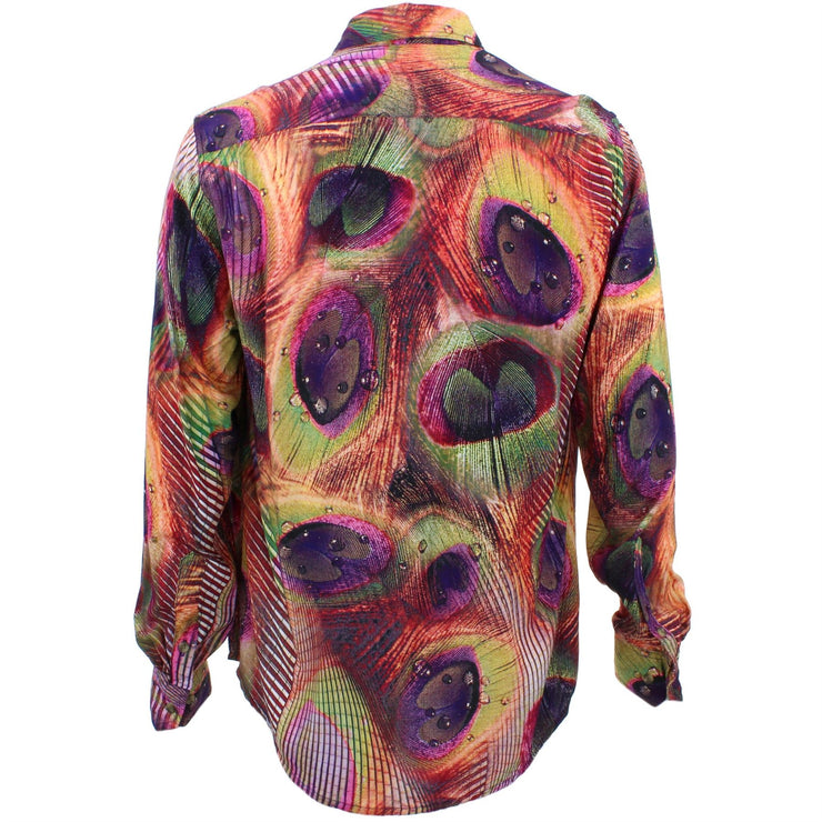 Tailored Fit Long Sleeve Shirt - Psychedelic Peacock Feathers