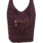 Striped Chenille Sling Shoulder Bag - Dark Purple