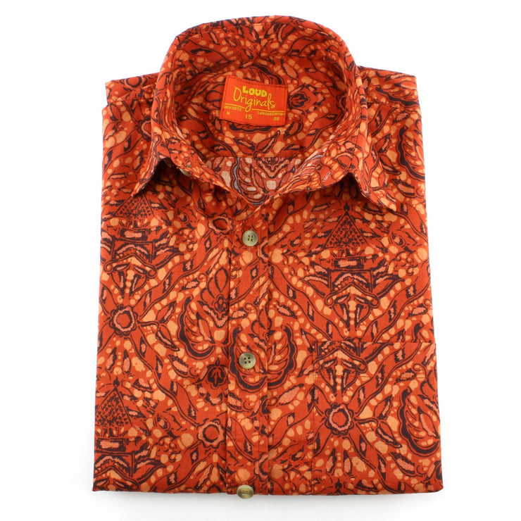 Tailored Fit Short Sleeve Shirt - Tribal Abstract Orange