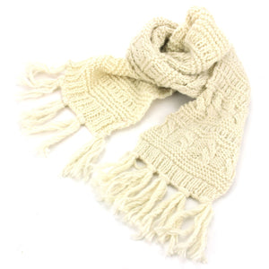 Chunky Wool Knit Scarf - Cream