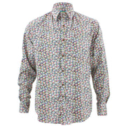 Tailored Fit Long Sleeve Shirt - Small Colourful Floral on Black