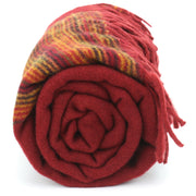Tibetan Wool Blend Shawl Blanket - Red with Sunset Reverse