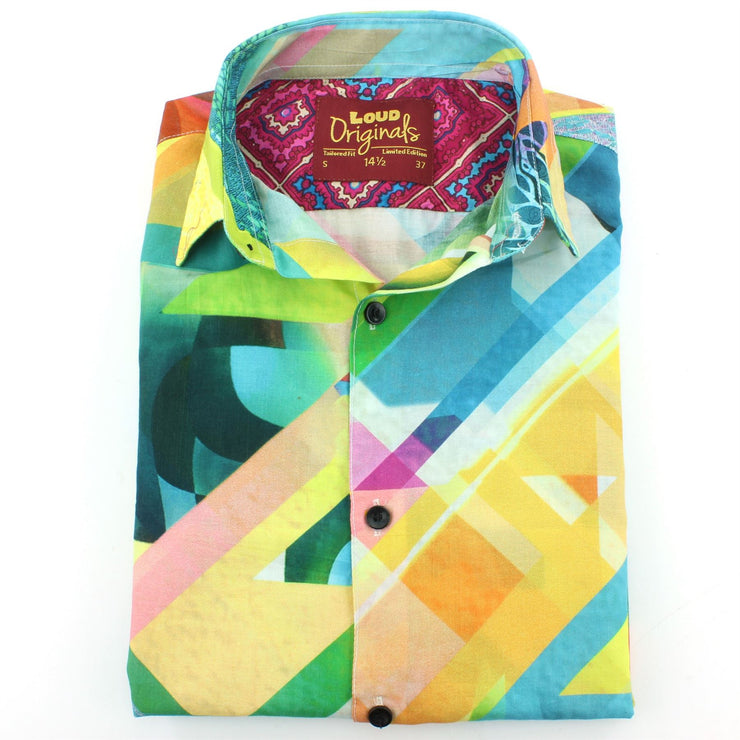 Tailored Fit Short Sleeve Shirt - Bright Diagonal Digital