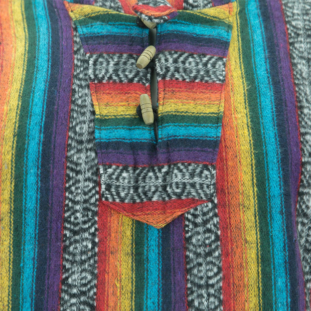 Brushed Cotton Long Hooded Poncho - Rainbow