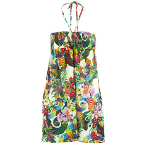 Halterneck Wrinkle Dress - Beautiful Botanical