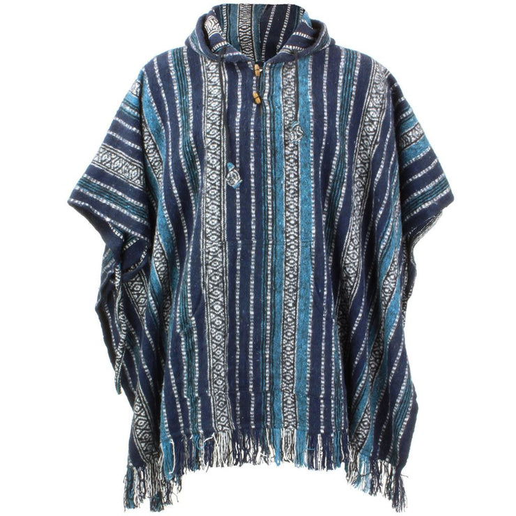 Brushed Cotton Hooded Poncho - Blue