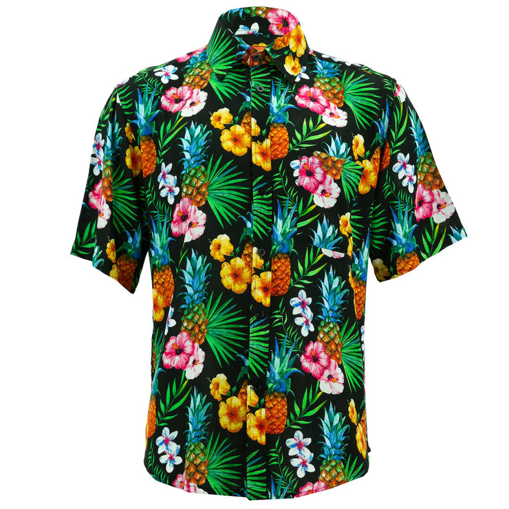 Regular Fit Short Sleeve Shirt - Totally Tropical - Black