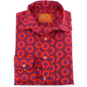 Regular Fit Long Sleeve Shirt - Red & Purple Circles