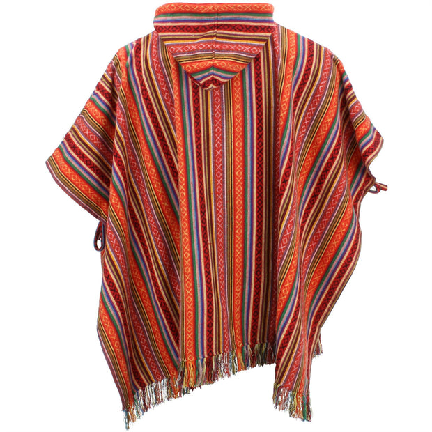 Brushed Cotton Hooded Poncho - Blood Orange