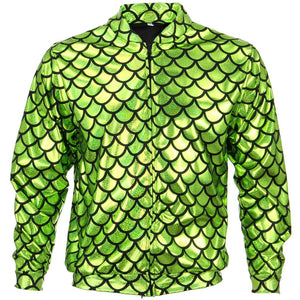 Unisex Fish Scale Bomber Jacket - Green