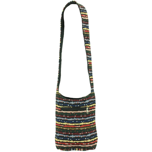 Cotton Canvas Sling Shoulder Bag - Stripes Spots